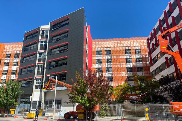 Installation of cladding on ANU building