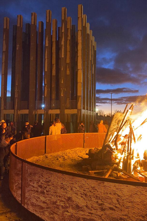 Bonfire pit at Less Pavilion