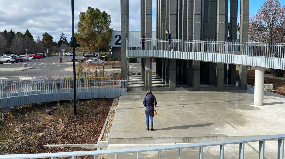 People exploring Less Pavilion