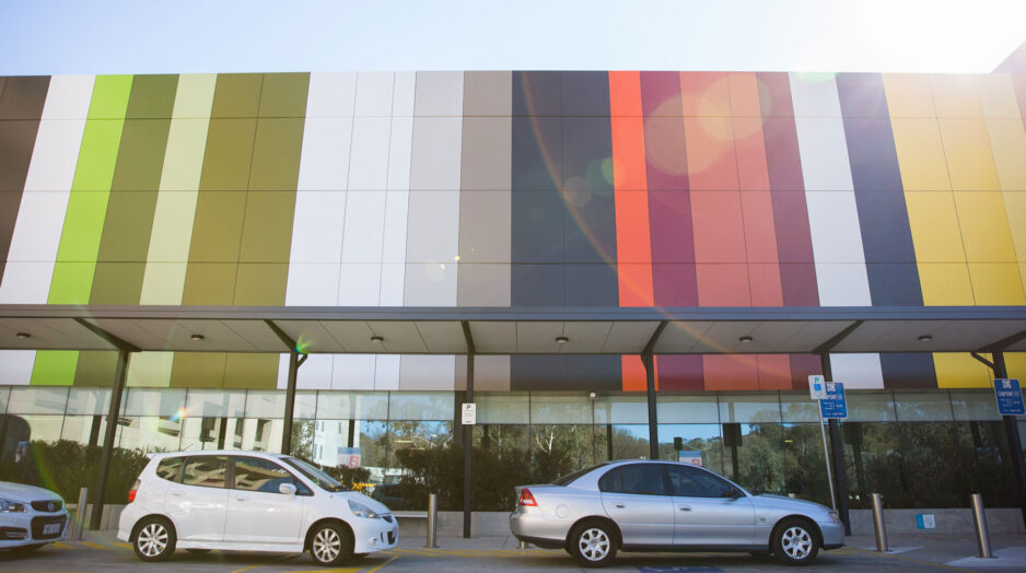 Colourful cladding on The Canberra Hospital