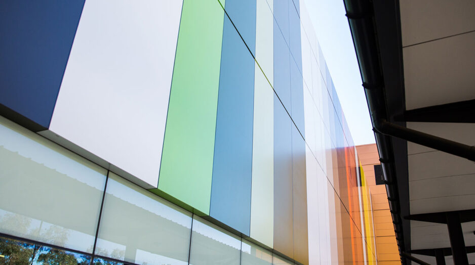 Colourful cladding on The Canberra Hospital Building