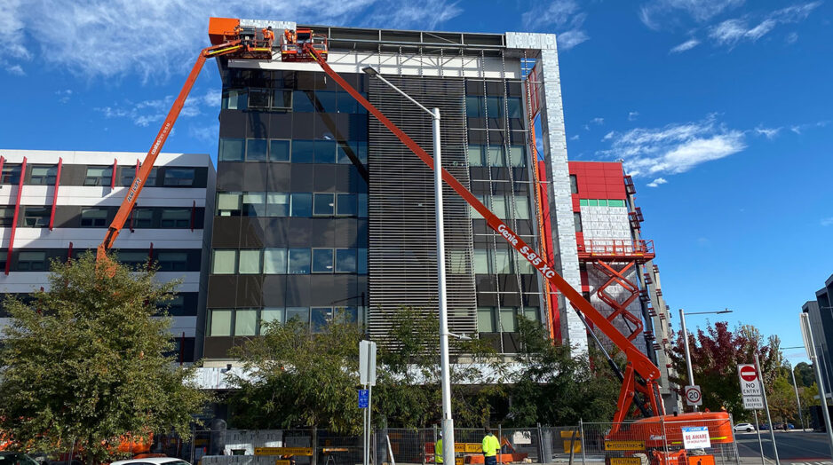Installation of cladding at the ANU